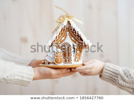 close up of christmas gingerbread houses at home Stock photo © dolgachov