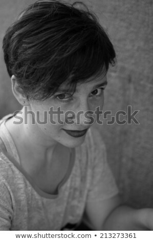 Beautiful woman young model with red lips and red manicure. Beau Stock photo © serdechny