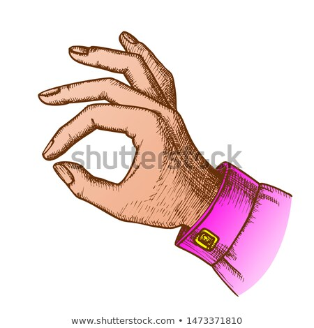 Color Girl Hand Gesture Okay Ok Approval Sign Ink Vector Stock photo © pikepicture
