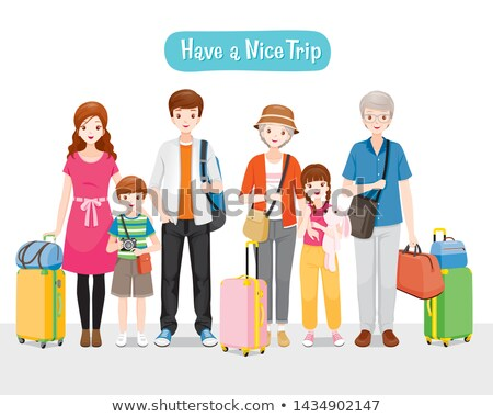 mother and daughter travel with luggage vector stock photo © robuart