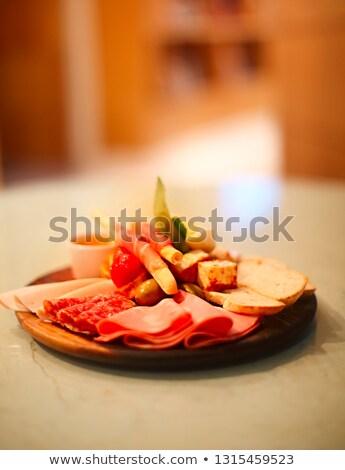serrano · İspanyolca · jambon · ekmek · plaka · sandviç - stok fotoğraf © dashapetrenko