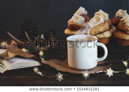 Beker koffie kaneel rollen Open boek hot Stockfoto © StephanieFrey