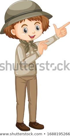 Girl in safari outfit pointing on white background Stock photo © bluering