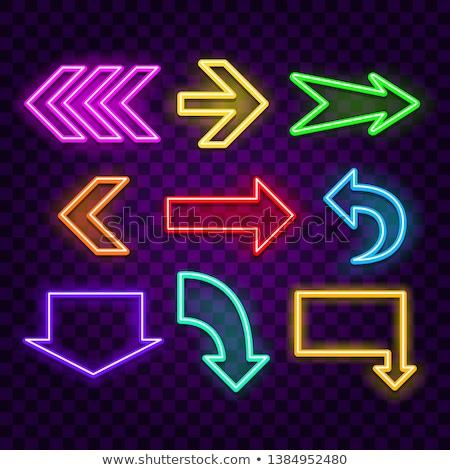 Nyíl neon ikonok irányítás promóció terv Stock fotó © Anna_leni