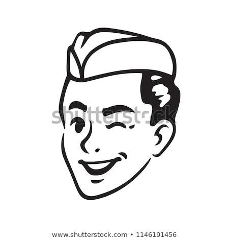 Retro karikatür garson çalışmak siyah hizmet Stok fotoğraf © kariiika