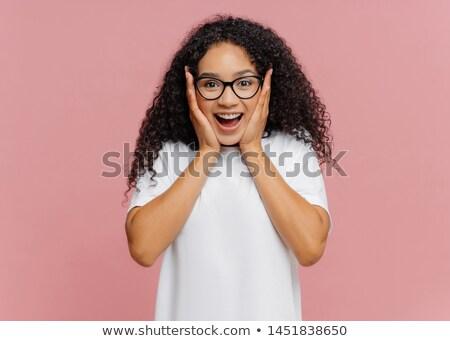 возбужденный афроамериканец женщину Щеки добрая весть прозрачный Сток-фото © vkstudio