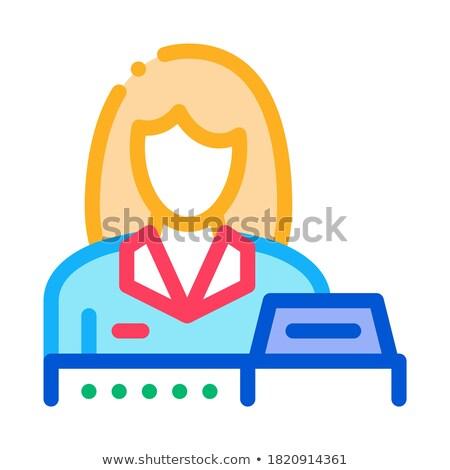 Nő eladó pénztár ikon vektor skicc Stock fotó © pikepicture