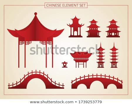 ősi pagoda tájékozódási pont tipikus kínai égbolt Stock fotó © bbbar