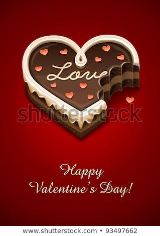 Doce bolo de chocolate coração amor eps10 transparente Foto stock © LoopAll