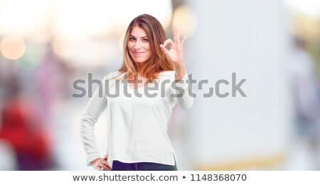 улыбающаяся · женщина · хорошо · знак · улыбаясь · привлекательный - Сток-фото © photography33