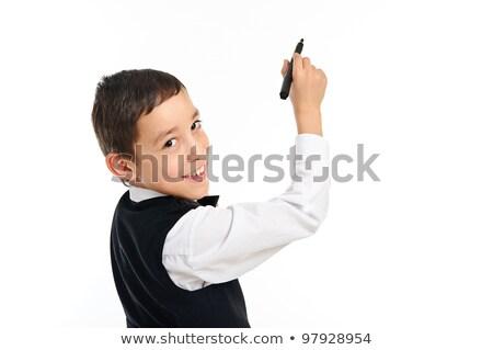Iskolás fiú toll izolált fehér portré fiatal Stock fotó © vkraskouski
