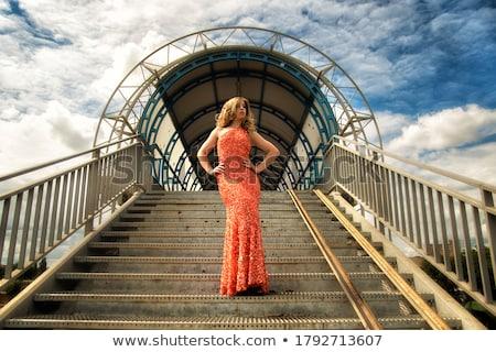 Beautiful Lady on Stairway Stock photo © PetrMalyshev