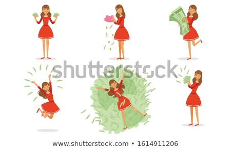 Girl counting the money of her piggy bank Stock photo © photography33
