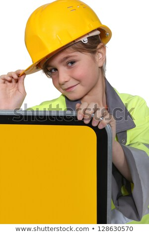 Little girl dressed as road side worker Stock photo © photography33