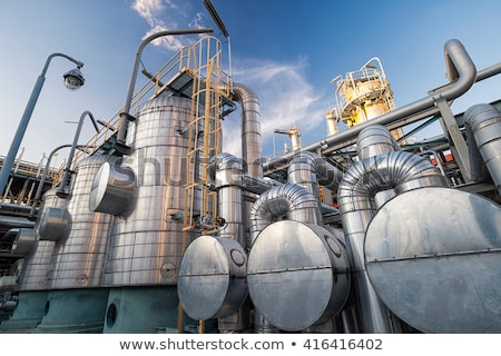Oil and Gas Refinery Plant with distillation column and tank Stock photo © rufous
