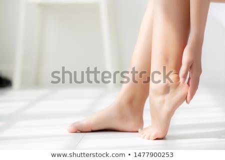 Voet lotion jonge vrouw gezondheid huid spa Stockfoto © Saphira