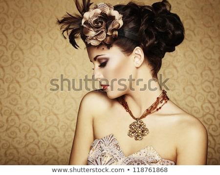 сексуальная · женщина · корона · моде · гламур · черное · платье · сидят - Сток-фото © lunamarina