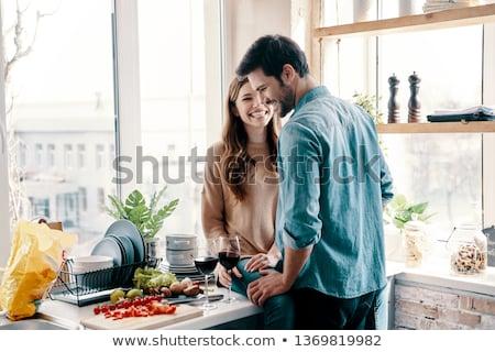 Pár flörtöl otthon szeretet férfi női Stock fotó © photography33