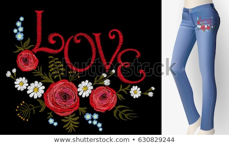 pair of blue jeans and flower Stock photo © prill