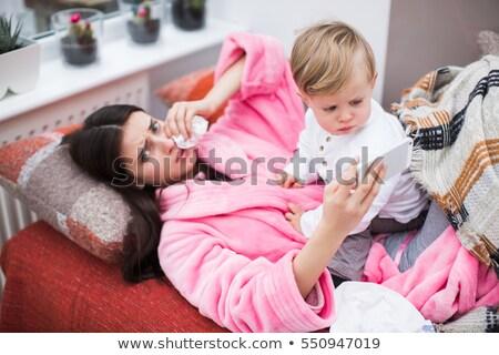 Photo stock: Portrait · deux · beauté · jeunes · femmes · oreiller