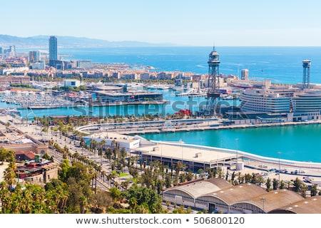 kábel · autó · torony · Barcelona · Spanyolország · város - stock fotó © 5xinc