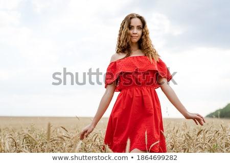 Foto stock: Jovem · mulher · bonita · vestido · vermelho · blue · sky · nuvens · natureza