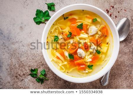 tavuk · çorba · çanak · basit · ayarlamak - stok fotoğraf © zhekos