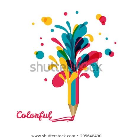 Colorful paint pencils vector background rainbow concept in sky Stock photo © krabata