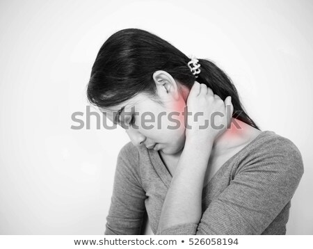 Nővér nyaki fájdalom fekete visel cserjék fehér Stock fotó © zdenkam