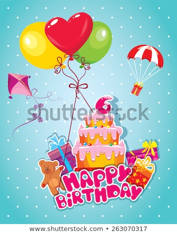 birthday greeting card with teddy bear and big gift box stock photo © balasoiu