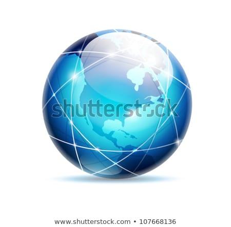 Absztrakt fényes kék földgömb ikon világ Stock fotó © rioillustrator