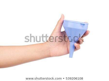Kéz tart fehér tölcsér izolált laboratórium Stock fotó © Taigi