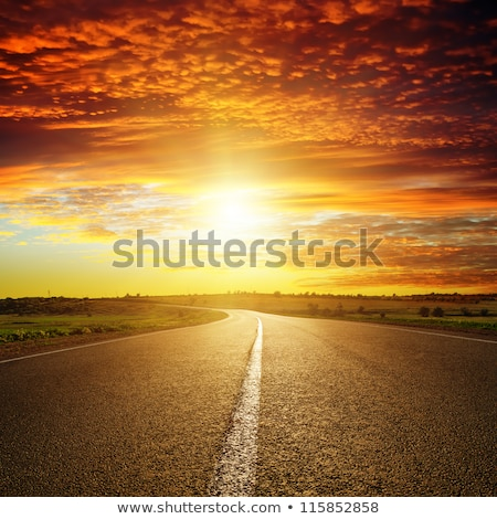 Cloudy sunset over highway Stock photo © Kirill_M
