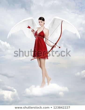 Kobieta łuk walentynki uśmiech miłości serca Zdjęcia stock © Elnur