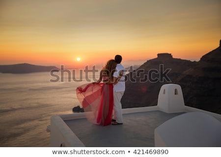düğün · an · çiçek · kız · adam · gün · batımı - stok fotoğraf © kzenon