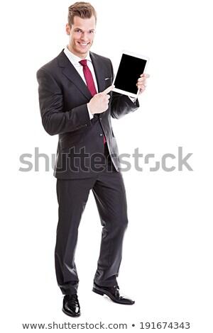 kéz · mutat · laptop · képernyő · fehér · izolált - stock fotó © feedough