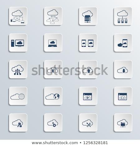 Wolk map icon geïsoleerd witte informatie Stockfoto © WaD