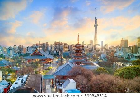 Tokió torony alkonyat világítás Japán égbolt Stock fotó © vichie81