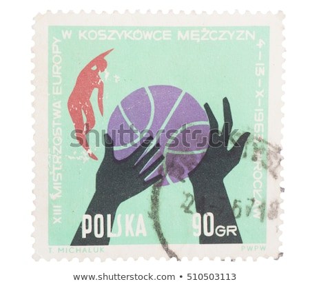 Stock photo: Basketball on Polish stamp