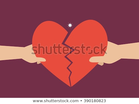 Rip paper for Valentine's day with red heart in flat style Stock photo © gladiolus
