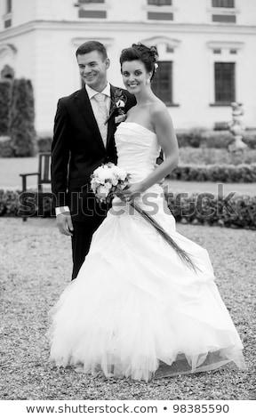 bw portrait of beautiful smiling bride stock photo © artush