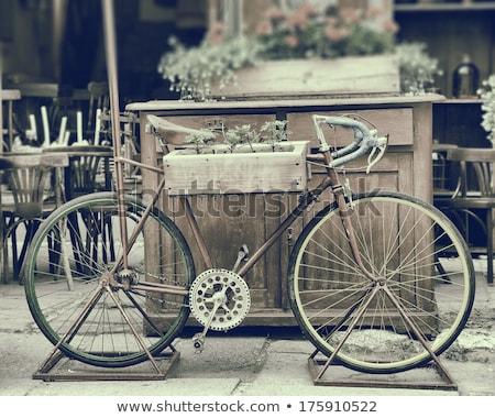 Vintage photos Old wooden bicycle Stock photo © smuki