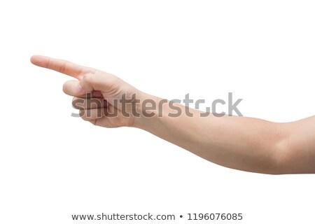 Vrouwelijke wijsvinger witte meisje teken communicatie Stockfoto © bloodua