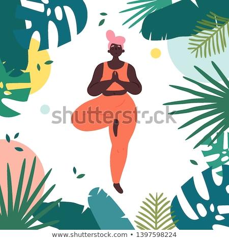 Fiatal afrikai nő fa jóga pozició Stock fotó © HASLOO