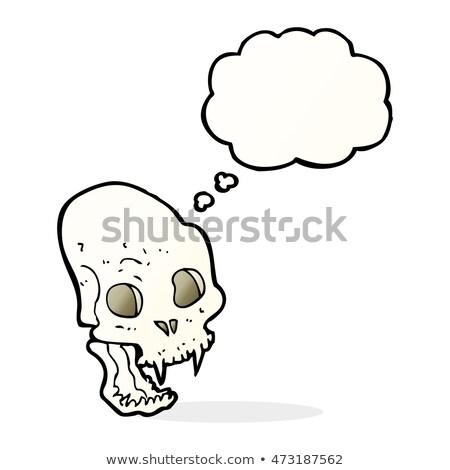 Desenho animado assustador vampiro crânio balão de pensamento mão Foto stock © lineartestpilot