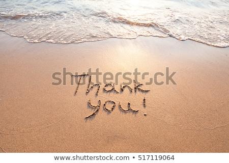 Gracias escrito playa de arena signo marrón fuera Foto stock © latent