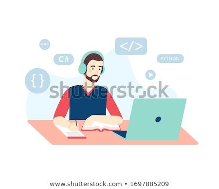 Vektör çalışma öğrenme mesafe eğitim Internet Stok fotoğraf © WaD
