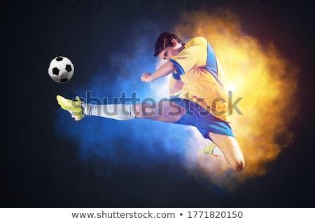 Voetballer Geel bal witte man sport Stockfoto © wavebreak_media
