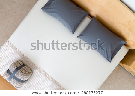 overhead view of a neat king size bed stock photo © ozgur