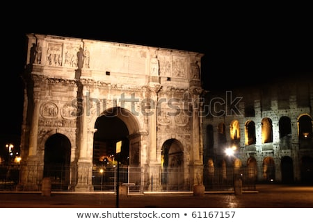 Stock photo: Arco de Constantino and Colosseum in Rome, Italy